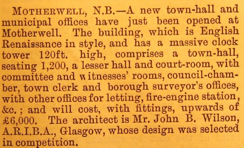 © All rights reserved. The Building News [London], Vol. LIV, 10 February 1888, page 237.